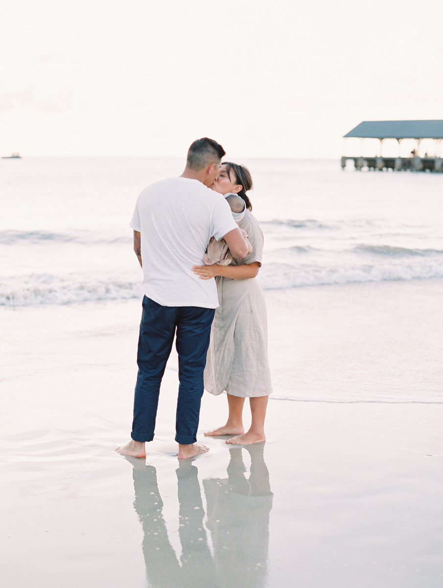 Sunset Beach Family Photo Session at Hanalei Bay by Mami Wyckoff Photography Kauai Wedding Photographer022